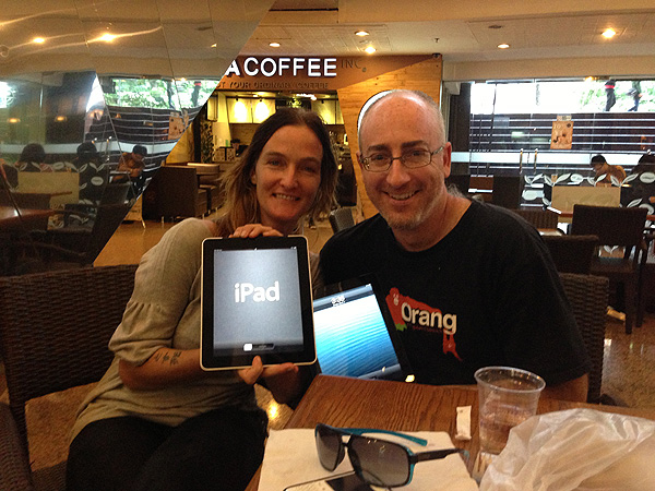 Apps for Apes in Jakarta: Femke den Haas of JAAN and Richard Zimmerman of Orangutan Outreach trying to make Planet of the Apes a reality.